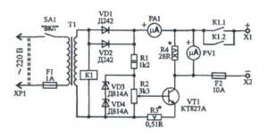 Простая схема зарядного устройства для автомобильного аккумулятора